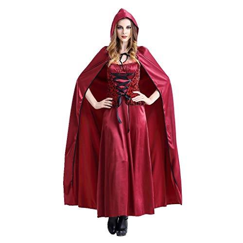 Damen Rotkäppchen Kostüm Langes Kleid und Umhang mit Kapuze Halloween Cosplay Kostüm Piebo Frauen Kurzarm Dress Erwachsene Kleider Fest Rollenspiel Kostüm Weihnachten Karneval Festliche Party Kleid