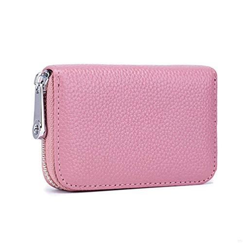 RFID スキミング防止 カードケース 本革製 財布 レザー 男女兼用 カード入れ 7cm*11cm*2cm(ピンク)