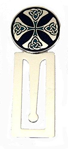 Emaille marineblau blau celtic Trinity Kreuz Design Lesezeichen, mit Chrom Basis (0237)