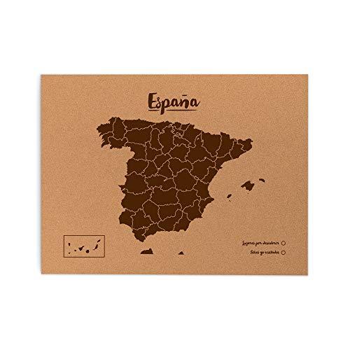 Miss Wood Mapa de España de Corcho, Pino, Marrón, L-45x60CM