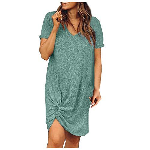 UNIQTA Damen Midi Kleider Kurzarm Lässig Lose Umstandskleid Tunika V-Ausschnitt Einfarbig Krawattenknoten Übergroßes Sommerkleid für Damen