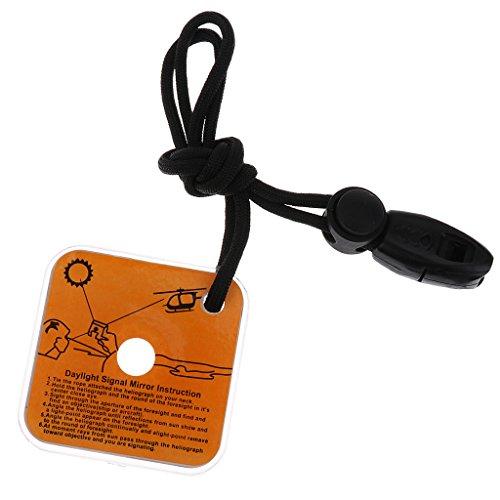 Homyl Miroir et Sifflet de Signalisation Indication Réflecteur Miroir Kit de Survie Équipement Sécurité pour Camping Randonnée
