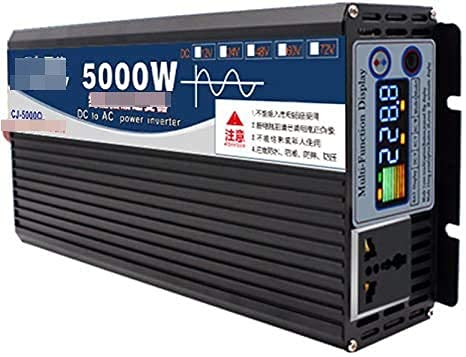 Inversor de energía de onda sinusoidal pura de 5000 W, 12 V / 24 V / 48 V / 60 V a 110 V / 220 V con 1 toma universal y pantalla inteligente a color para automóvil, caravana, barco, camping, viajes (