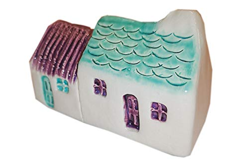 Glenshee Pottery Handmade Wee Semi-detached Bothies - Tin/slate-roofed Purple & Seamist