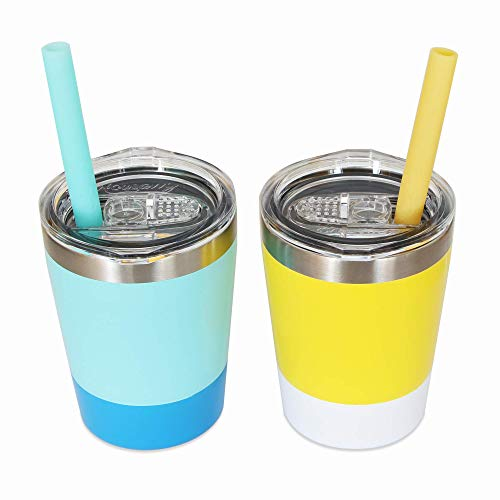 Sippy Cups for Toddlers, 2 Pack of 8.5 OZ Toddler Cups, Housavvy Kids Cups with Straws and Lids BPA Free Double Wall Insulated Stainless Steel Easy Cleaning and Dishwasher Safe (Light-blue/Yellow)