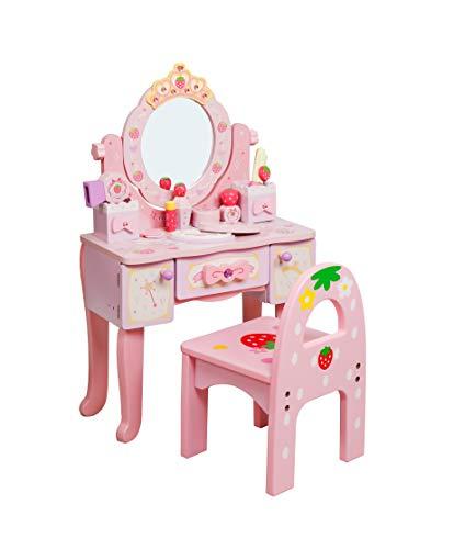 Fresh Baby Tocador Infantil con Espejo - Tocador de Princesa con Silla y Accesorios - Altura 75 CM