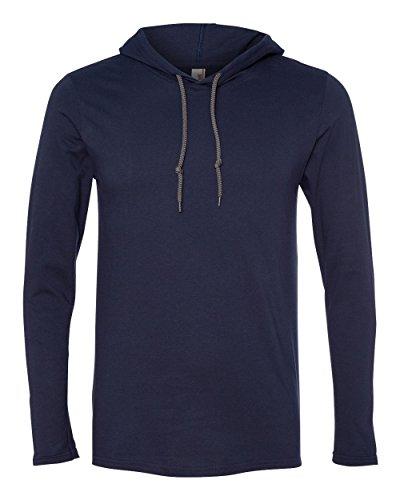 Anvil Ringspun Long-Sleeve Hooded T-Shirt-XL (Navy/Dark Grey)