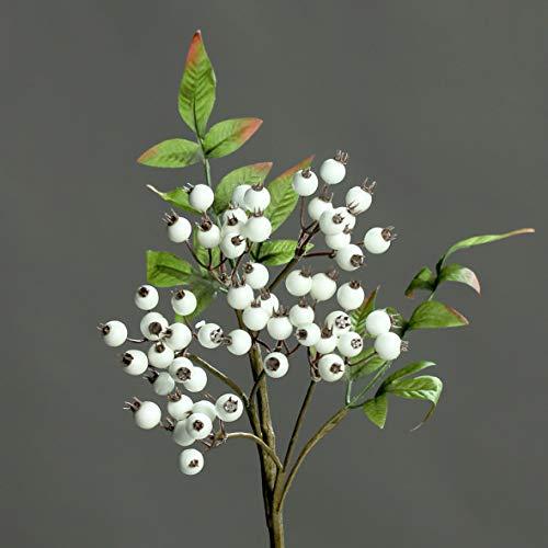 mucplants Künstlicher Hagebuttenzweig Weiß/Creme Künstliche Hagebutten Beeren Beerenzweig Kunstzweig Kunstast Dekoast Kunstpflanze