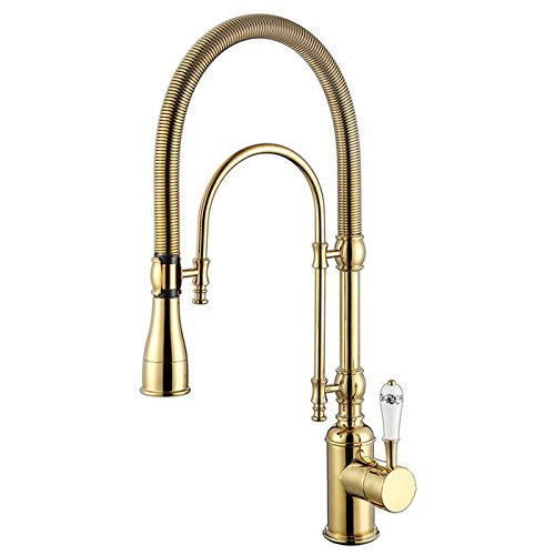 KunMai High Arc Swiveling Dual-Mode Pull-Down Gold/Chrome Kitchen Mixer Tap with Porcelain Lever (Gold)