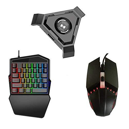 vap26 Gamepad Controlador Set PC Adaptador Móvil No Vibración Bluetooth 4.1 USB Videojuego Móvil Negro Convertidor ABS y Juego Teclado Ratón(P5) Show, p5+keybord+Mouse