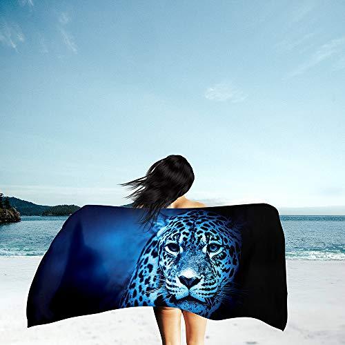 Surwin Grande Toalla de Playa de Microfibra Toalla 3D Animal Leopardo Impresión de Secado Rápido Súper Absorbente Natación Toalla de Arena Antiadherente para Playa (Leopardo Azul,80x180cm)