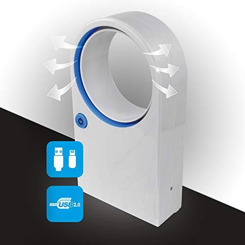 Mini Ventilator ohne Rotorblätter mit USB Kabel oder Batteriebetrieb