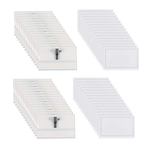 LAITER 60 PCS Kunststoff Namensschild für Visitenkarten Namensschilder mit Halter-Clip und Ansteck-Nadel Für Schulen Veranstaltungen Kreuzfahrten kleine Unternehmen,90mm x 56 mm