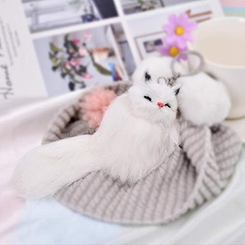 Fluffy Animal Cartoon Fox Keychain Cute Pendant Car Key Ring Chains Holder Bag Purse Ornament Women Jewelry Charm Keyring