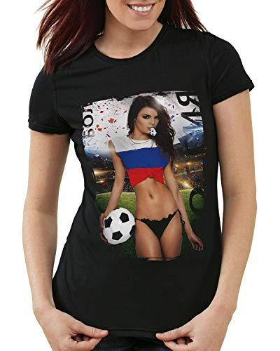 style3 La Roja 2020 Chica de Fútbol Camiseta para Mujer T-Shirt españa fútbol Spain Negra