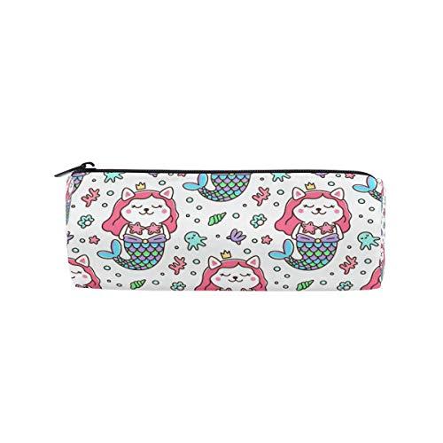 Tenboya Federmäppchen Katze Meerjungfrau Kostüm Krone Krone Seestern Perlen Muschel Koralle Schreibwaren Tasche Tasche Kosmetik Tasche