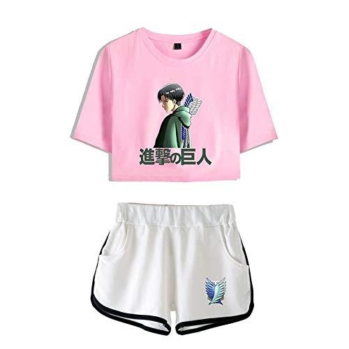 NLJ-lug Attack On Titan - Juego de dos piezas para mujer, pantalones cortos + camiseta divertida, tallas XS