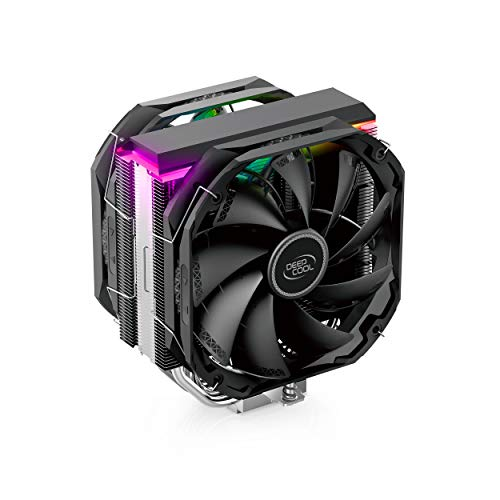 DEEP COOL AS500 Plus, Ventilateur de processeur PC, 5 Caloducs, Ventilateurs 2 x 140mm PWM, Intel & AMD, ARGB