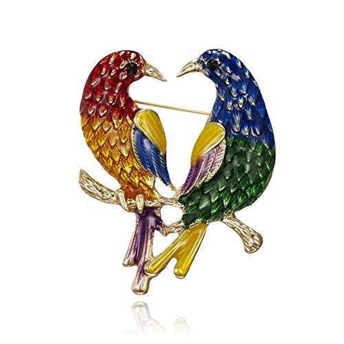 KXHZJM Twee vogels papegaai broche pinnen corsage twee uilen pinnen pak retro dier broches voor vrouwen vintage vogel broche