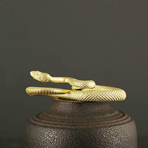Gpzj Fait à la Main Disque du Zodiaque Serpent en Laiton Porte-clés Python Ceinture Suspension Boucle Petit cuivre Python Ornement Sculpture décoration Artisanat, Un