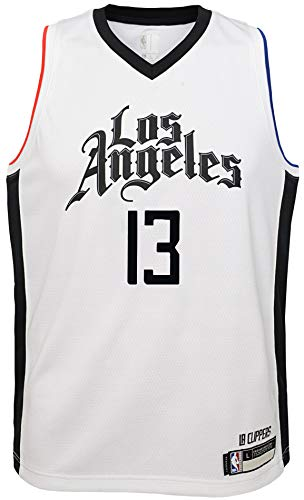 NBA Kids 4-7 Official Name and Number Replica Home Alternate Road Player Jersey (5/6, Paul George Los Angeles Clippers White City Edition)