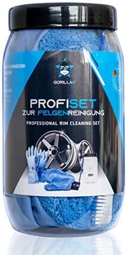 GORILLAR Profi Set zur Felgenreinigung, Mikrofaser Felgenhandschuh, Latexhandschuhe, Felgenbürste und Anti-Schmutz-Dose, für die Reinigung der Felgen