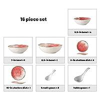 陶器ディナーセット、16個北欧風磁器コンビネーションセット-ボウル/皿/スプーン  レストラン用グラデーションガラスプノンペンディナーウェア,C~pink
