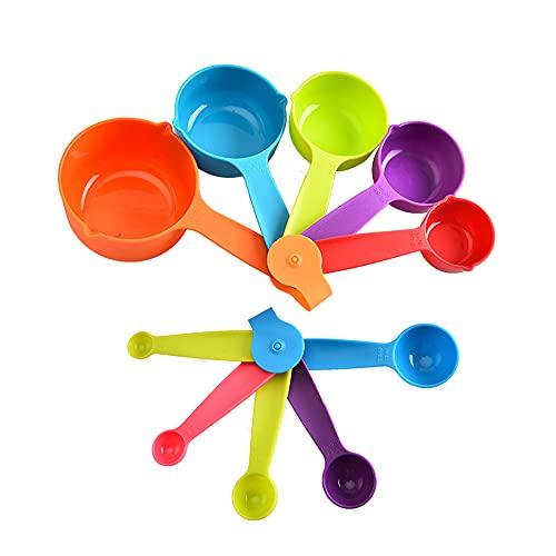 Cyleibe Messlöffel, Messbecher und Löffel 10 Set, Küche Backen Messgerät Messlöffel Kochzubehör - Mehrfarbig