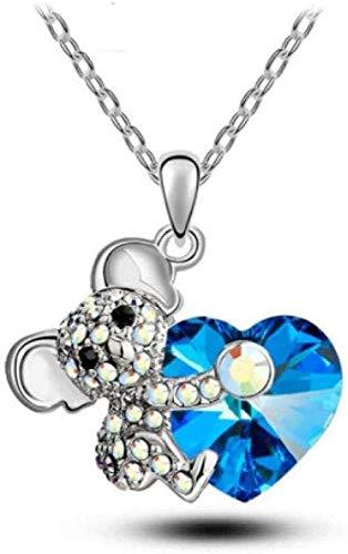 Yiffshunl Collar Moda Amor Corazón Koala Oso Collares y Colgantes Cristales Niñas Mujeres Joyería Regalos para Pareja Día de San Valentín