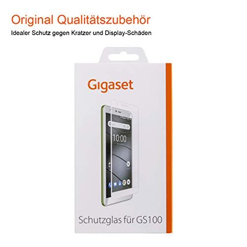 Gigaset Schutzglas (Full Display HD Glass Protector, Panzer-Schutzfolie gegen Glasbruch und Kratzer, extra stoßfest, geeignet für GS100) weisse Umrandung