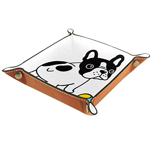 AITAI Bandeja de valet de cuero vegano organizador de mesita de noche plato de almacenamiento Catchall Bulldog con pelota de tenis dibujos animados