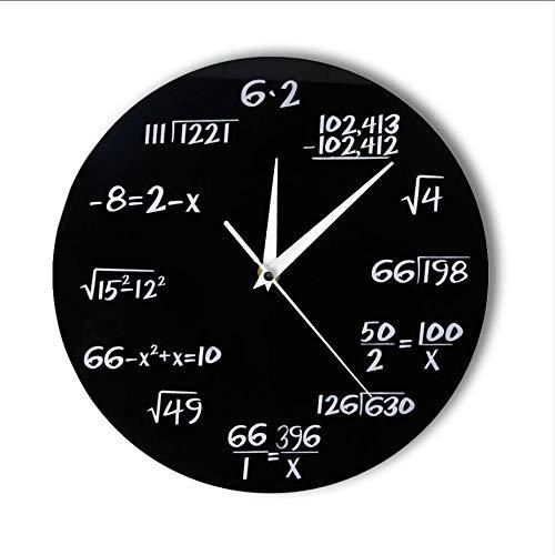 Djkaa Números de ingeniería Matemáticas Reloj de Pared Ecuación matemática Reloj Decorativo Pop Quiz Arte de la Pared Arte de la Ciencia Regalo para matemáticos Frikis y Maestros (10 Pulgadas)