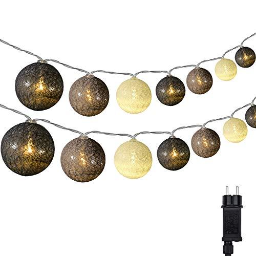 Cotton Ball Lichterkette, DeepDream 4.5m 20 LED Kugeln Lichterkette Innen Lichterkette Baumwollkugeln Lichterkette mit Stecker für Kinderzimmer, Schlafzimmer, Hochzeit, Party, Festival (Grau)