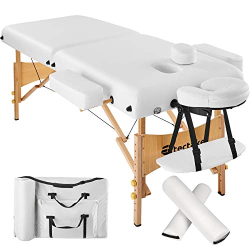 TecTake Massageliege 7,5cm reine Polsterung + 2 Lagerrungsrollen + Tasche -diverse Farben- (Weiß)