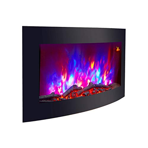 TruFlame WALL MOUNTED ELECTRIC FIRES FIRE FIREPLACE CURVED BLACK GLASS LOG EFFECT FLAME NEW!