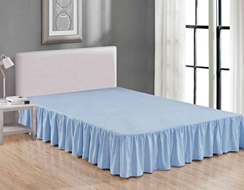 Sheets & Beyond Wrap Around Solid Luxury Hotel Quality Fabric Bedroom Dust Ruffle Wrinkle and Fade Resistant Gathered Bed Skirt 14 Inch Drop (Queen, Light Blue)