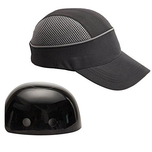 Anstoßkappe mit reflektierenden Streifen, leichtem und atmungsaktivem Arbeitskappe Schutzkappe (Schwarz Lange Krempe)