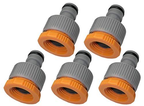 AERZETIX - Juego de 5 Adaptadores de Grifo 1/2''-3/4'' Lado Hembra y Lado Macho 1/2'' - Racor rápido para Manguera de riego - Nariz del Grifo - plástico - C47475