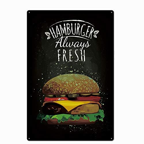 Original Retro Design Alawys Fresh Hamburger Tin Metal Signs Wall Art | Thick Tinplate Print Poster Wall Decoration for Kitchen/Restaurant