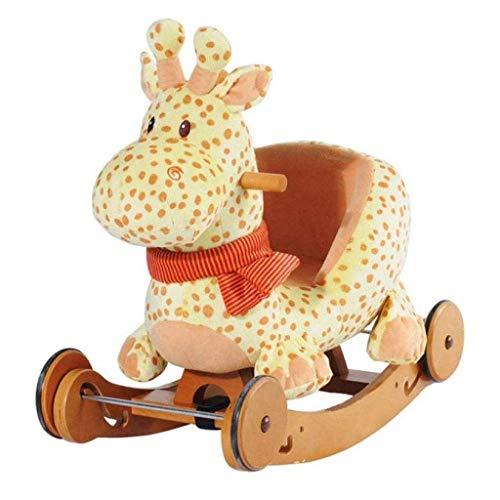 DIAOD Schaukelpferd Spielzeug 2 in 1 Bewaldete Plüsch Rocker Stuhl mit Rollen Real Wood Aufsitz-Plüsch-Rocker