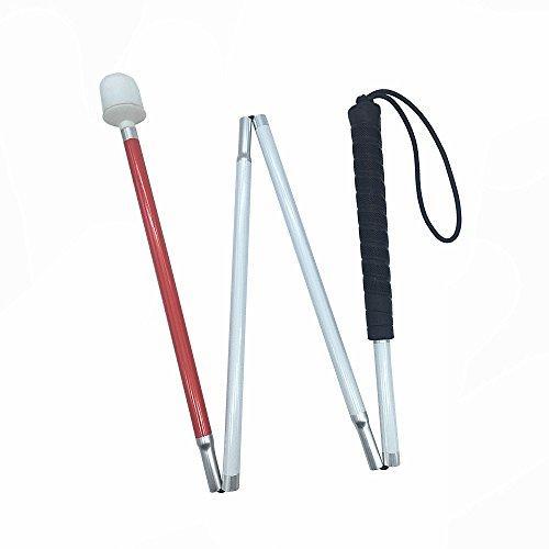 Aluminio Baston Blanco para Ciegos y Baja Vision Plegable, 4 Secciones (125 cm, Mango de Negro)