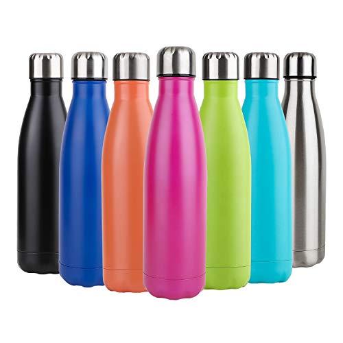 Hotchy Edelstahl Trinkflasche, Vakuum Isolierte Thermosflasche, BPA Frei 500ml Wasserflasche Auslaufsicher Thermoskanne für Kinder, Schule, Sport, Outdoor, Fahrrad, Fitness, Camping - Rosa