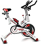 Exercise Bike Adjustable Handlebar and Seat Computer Reads Speed Distance Time Calories Heart Rate Sensors Spinning Bicycle For Home Cardio Workout Sports Bicycle with Kettle-Blanco