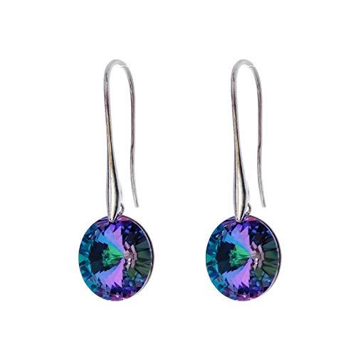 Pendientes largos para mujer con cristales de Swarovski en diferentes variantes en color plateado – Pendientes para mujer, color: Vitail Light