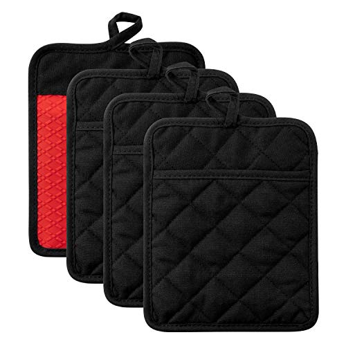 GROBRO7 Pot Holders Silicone Red Coaster Potholder Heat Resistant Oven Gloves Cotton Black Mat Oven Mitt Hot Pads for Cooking Baking BBQ Grilling Microwave, Kitchen Everyday Basic, 4 of set