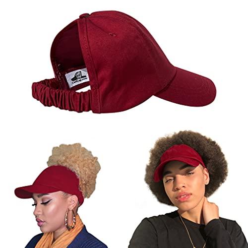 CurlCap Natural Hair Backless Cap – Satin Lined Baseball Hat for Women (Burgundy)