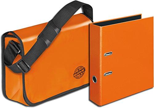 Veloflex Umhängetasche Velocolor aus LkW-Plane (Tasche + passender Ordner, Orange)