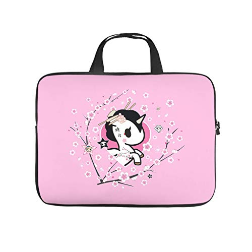 Japanese Tokidoki Unicorn Cherry Flower Laptop Bag Dustproof Laptop Carry Bag Fashion Notebook Bag for University Work Business