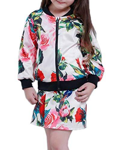 YiyiLai YiyiLai Modern Reissverschluss Mit Blume Druck Herbst Sommer Jacke Mantel Outwear Nicht inkl Rock Langarm Bekleidungsets Weiss 110