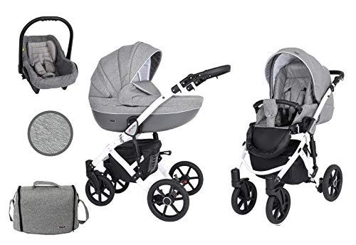 KUNERT Kinderwagen MILA Sportwagen Babywagen Autositz Babyschale Komplettset Kinder Wagen Set 3 in 1 (3in1, Jeans Graphit, Rahmenfarbe: Weiß)
